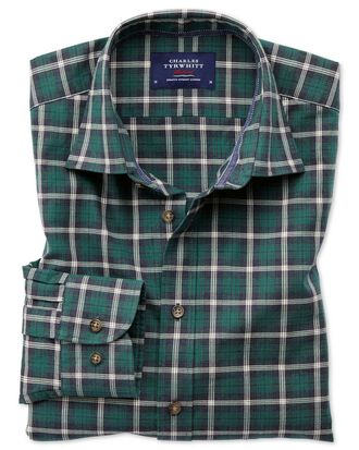 Slim fit heather tartan navy blue and green check shirt
