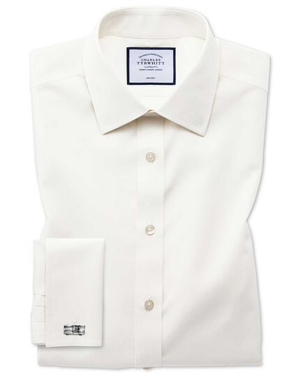Classic fit non-iron poplin cream shirt