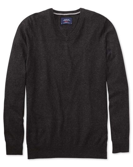 Charcoal cotton cashmere v-neck sweater