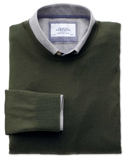 Dark green merino wool crew neck sweater