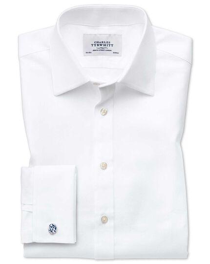 Classic Fit Hemd aus ägyptischer Baumwolle und Cavalry-Twill in Weiß
