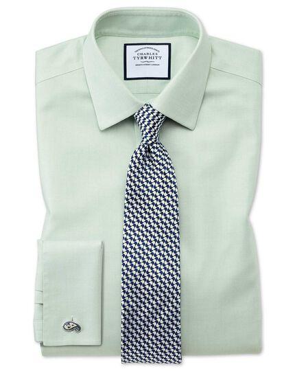 Bügelfreies Extra Slim Fit Hemd aus Stepweave-Gewebe in Grün