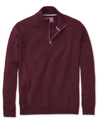Wine cashmere zip neck jumper
