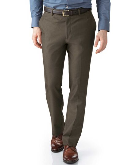 Brown slim fit stretch cavalry twill chinos