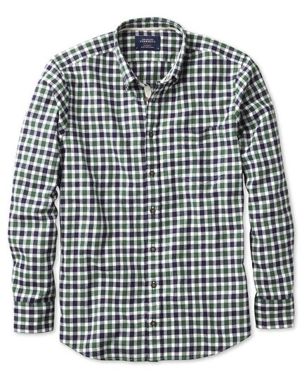 Slim fit green and navy check brushed dobby shirt