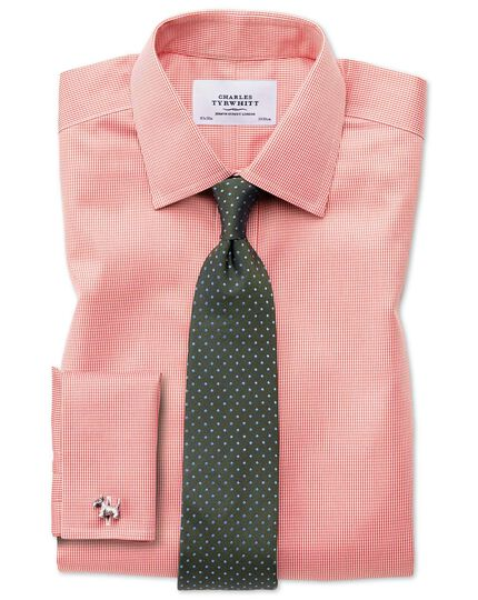 Classic fit non-iron puppytooth coral shirt