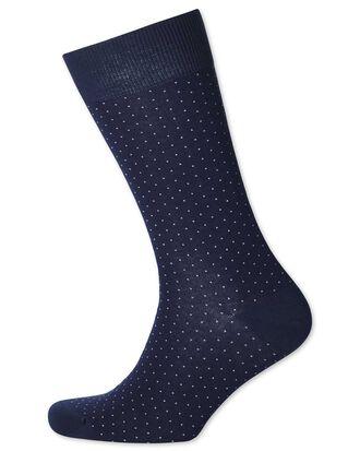 Navy and white micro dash socks