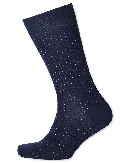 Chaussettes bleu marine et blanches à micro tirets