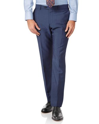 Blue slim fit Italian wool luxury suit trousers