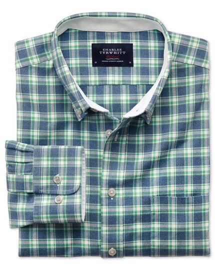 Extra slim fit blue and green check washed Oxford shirt