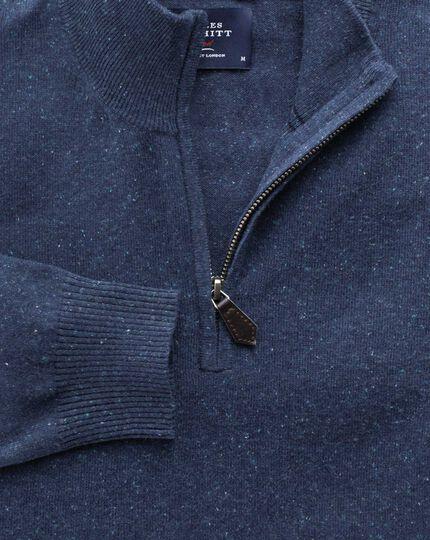 Indigo cotton cashmere zip neck jumper
