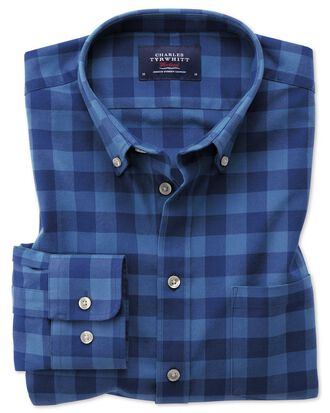 Extra slim fit button-down washed Oxford blue check shirt