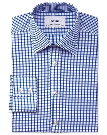 Chemise bleu marine coupe droite à carreaux simples sans repassage