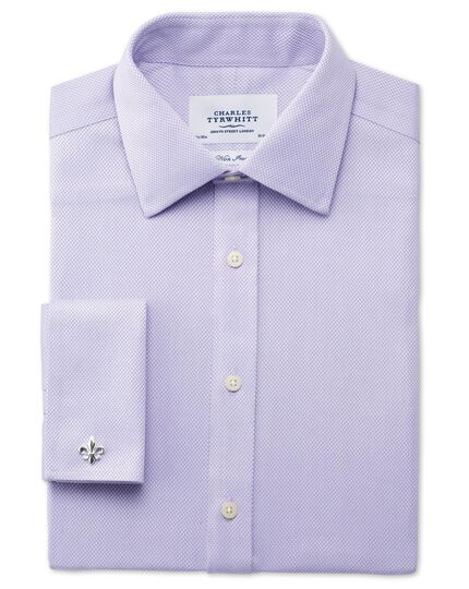 Classic fit non-iron diamond weave lilac shirt