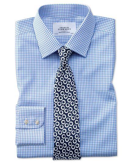 Slim fit non-iron grid check sky blue shirt