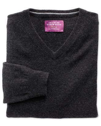 Charcoal cashmere v-neck jumper