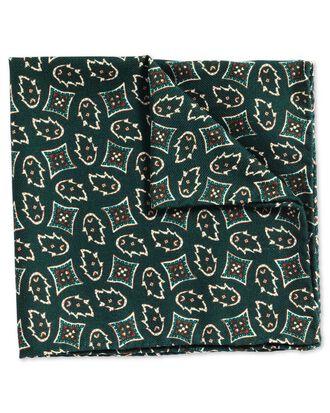Green luxury Italian printed geometric pocket square