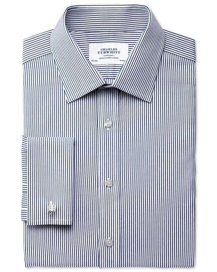 Extra slim fit raised stripe navy shirt