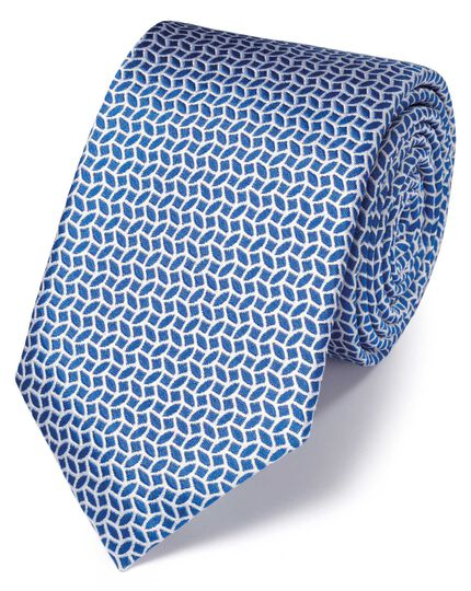Royal and white silk geometric classic tie