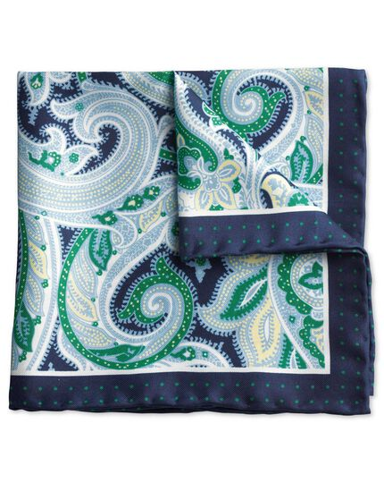 Navy and green paisley border classic pocket square