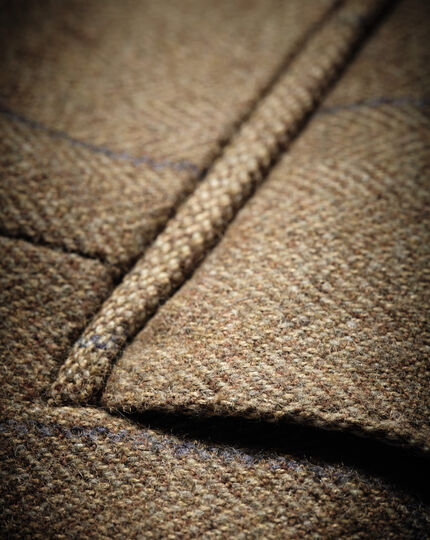 Slim Fit Luxus-Tweedsakko in Gelbbraun mit Karos
