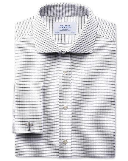 Slim fit spread collar non-iron white and black shirt