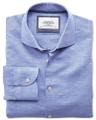 Extra slim fit cutaway collar business casual linen cotton blue shirt