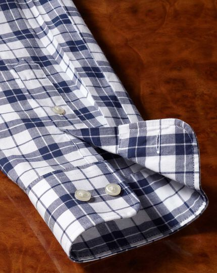 Classic fit poplin navy and white  shirt