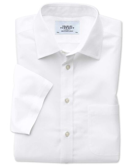 Bügelfreies Extra Slim Fit Popeline-Kurzarmhemd in Weiß