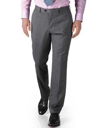 Silver slim fit twill business suit pants