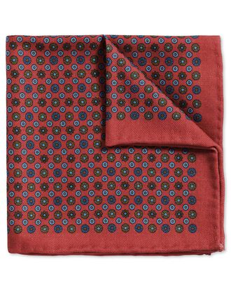 Light red and blue classic printed wool spot pocket square