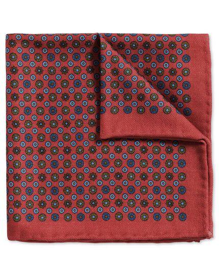 Pochette de costume classique rouge clair et bleue en laine avec imprimé pois