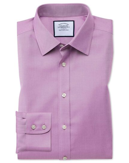 Classic fit non-iron twill violet shirt