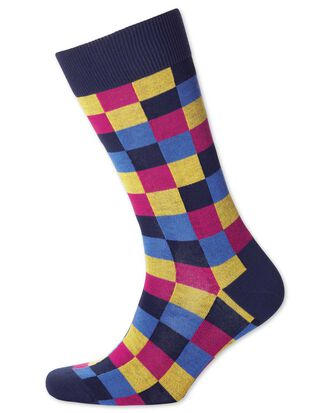 Pink and yellow multi check socks
