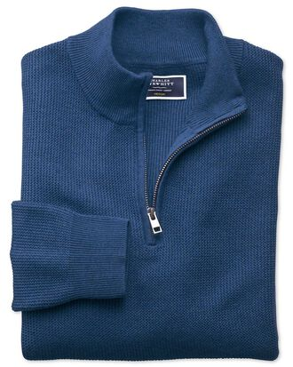 Blue pima cotton textured v-neck sweater
