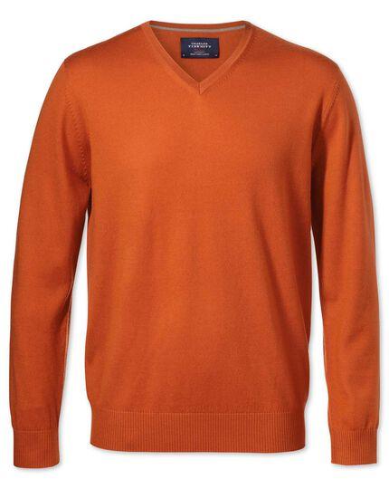 Merino Pullover mit V-Ausschnitt in Orange