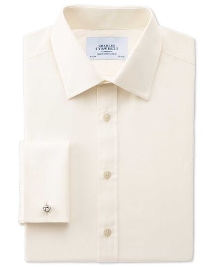 Classic fit end-on-end cream shirt