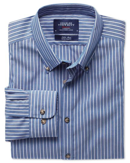 Extra slim fit non-iron poplin blue and white stripe shirt