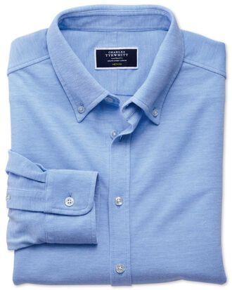 Jersey-Oxfordhemd in Himmelblau
