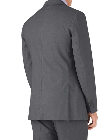 Silver slim fit crepe business suit jacket