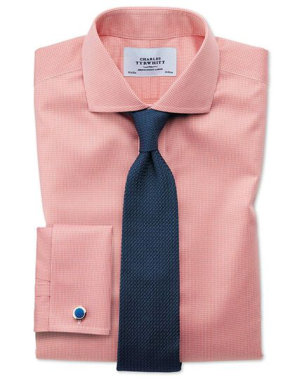 Extra slim fit cutaway non-iron puppytooth coral shirt