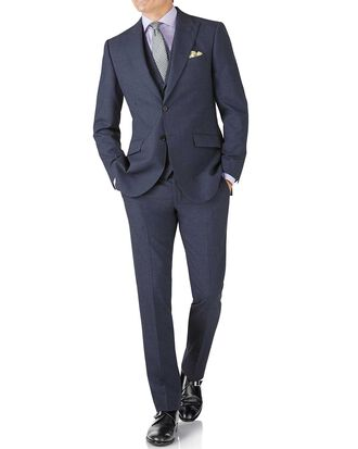 Airforce blue puppytooth slim fit Panama business suit