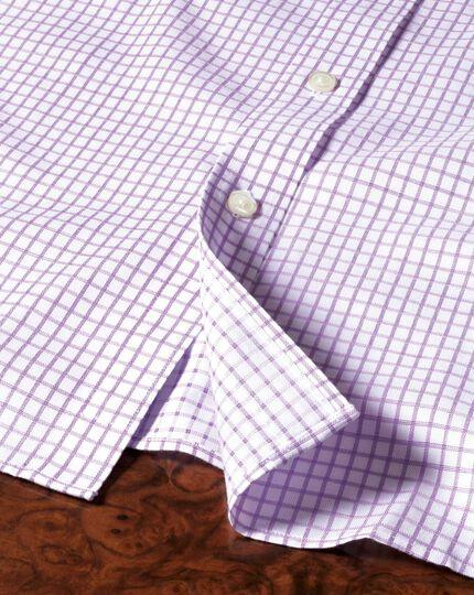 Bügelfreies Slim Fit Hemd in Flieder mit Windowpane-Karo