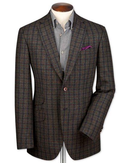 Slim Fit, britisches Luxus-Tweedsakko in Grün und Marineblau mit Karos