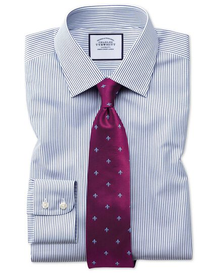 Slim fit non-iron stripe navy blue shirt