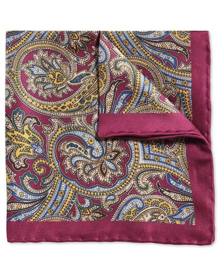 Berry and gold classic printed ornate paisley pocket square