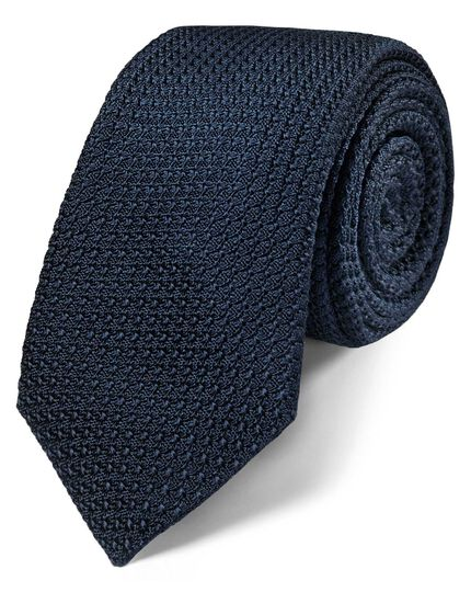Navy silk luxury Italian grenadine plain slim tie