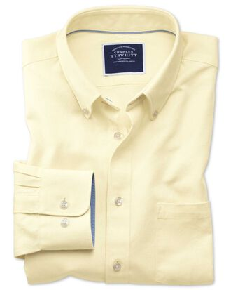 Classic Fit Oxfordhemd mit Button-down Kragen in Hellgelb