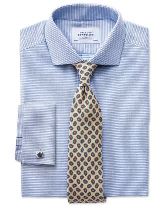 Extra slim fit cutaway collar non-iron square textured mid blue shirt