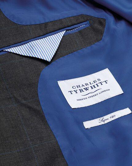 Charcoal slim fit sharkskin travel suit jacket